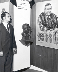A young John Bankert takes a look at an exhibit on Hall of Famer George Preston Marshall.