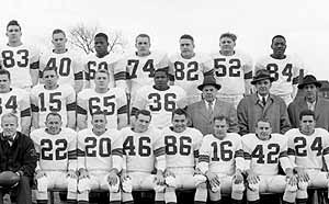 Don Steinbrunner, number 74, played for the 1953 Cleveland Browns