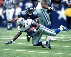 Emmitt Smith became the all-time leading rusher on this carry.  (Photo: James D. Smith/NFL Photos)